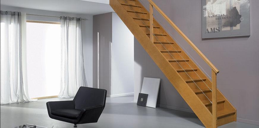 Escalier Authentique Hêtre Gris chêne rampe gauche