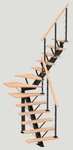 escalier DUO Poutre Club quart tournant les menuiseries Françaises