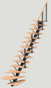 escalier DUO Poutre One quart tournant les menuiseries Françaises