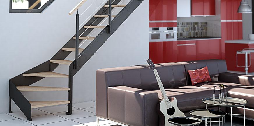 Escalier Duo Bois Métal Limon Plein