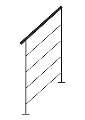 Rampe metallin en tube pour l'escalier LIAISON