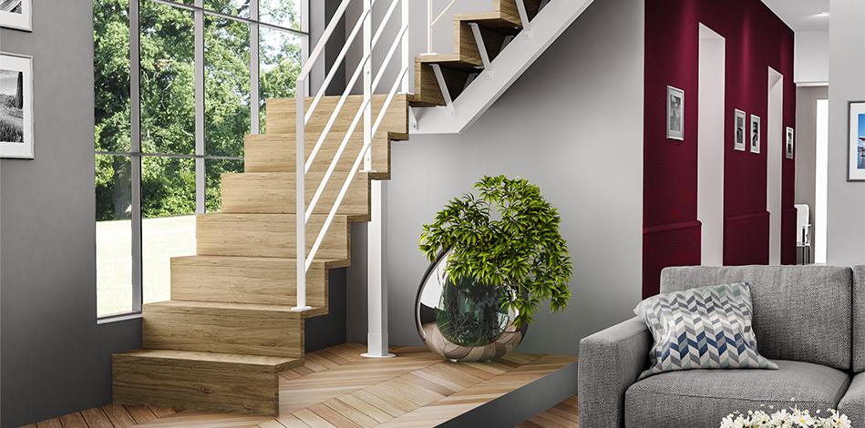 Escalier Duo bois et métal AMB QTI LIAISON